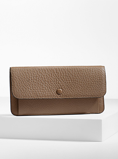 OAD NEW YORK Brown  Slender leather wallet for women