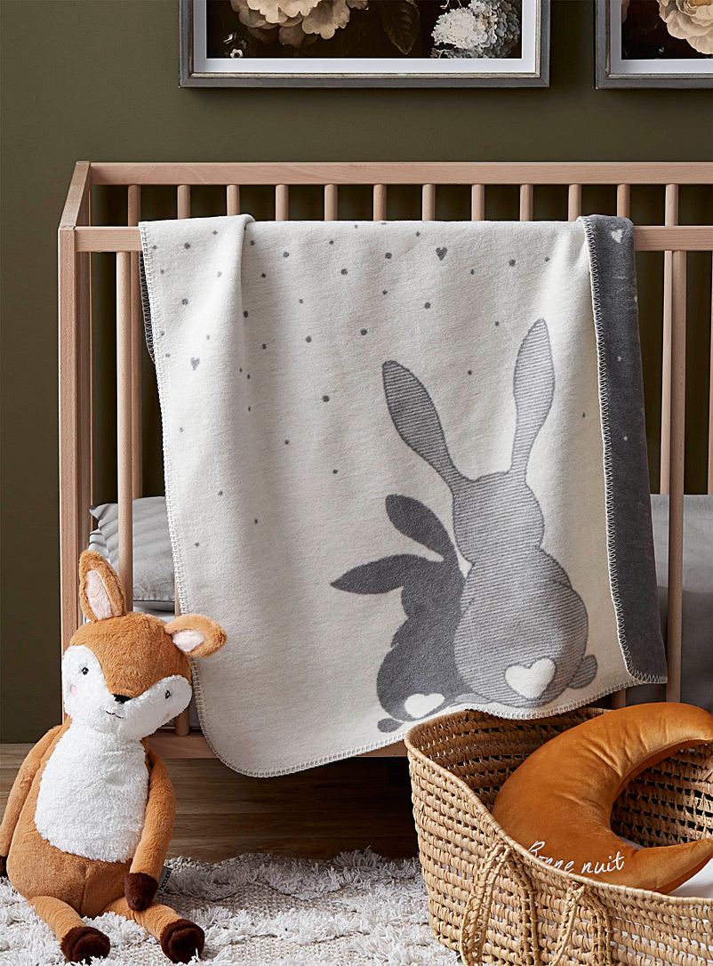 Simons Maison Patterned Grey Rabbit children's throw  75 x 100 cm