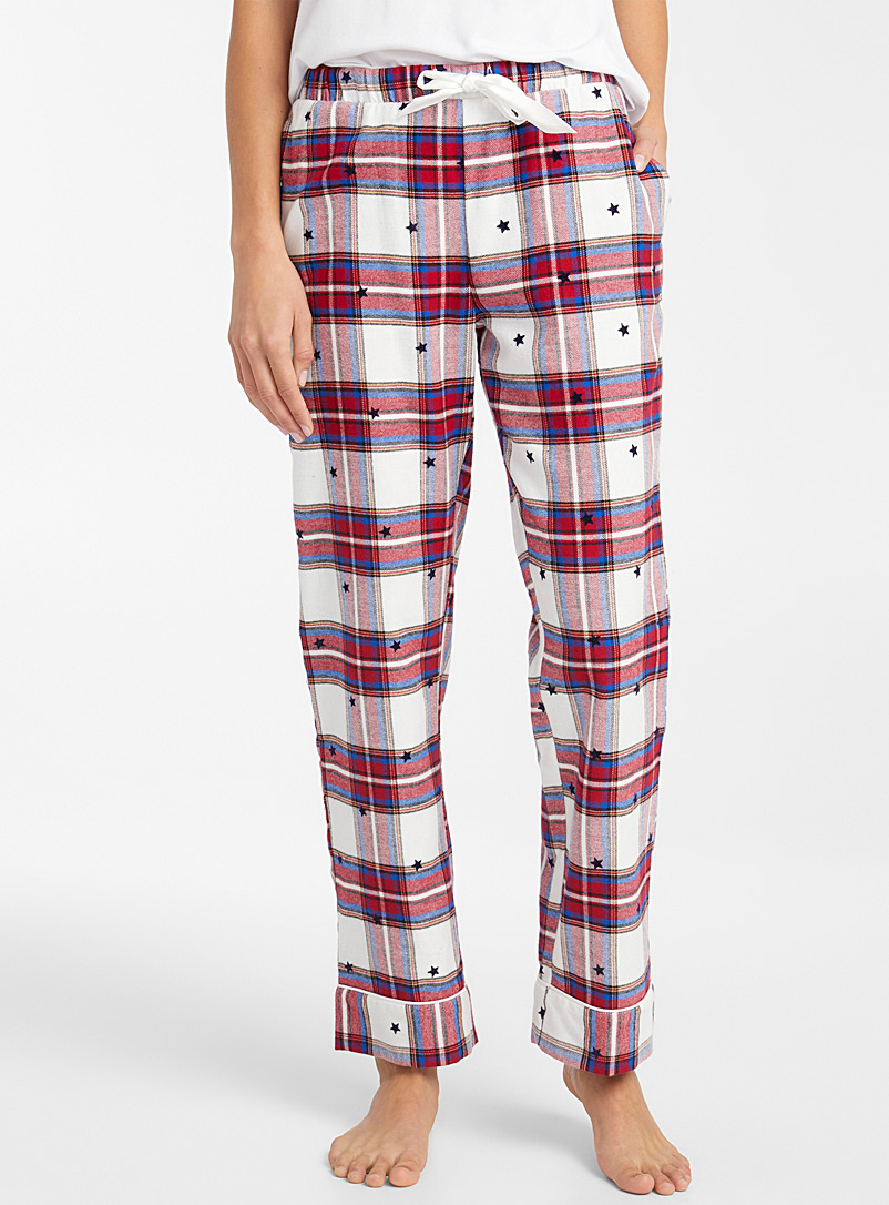 Miiyu x Twik Patterned White Warm tartan pant for women