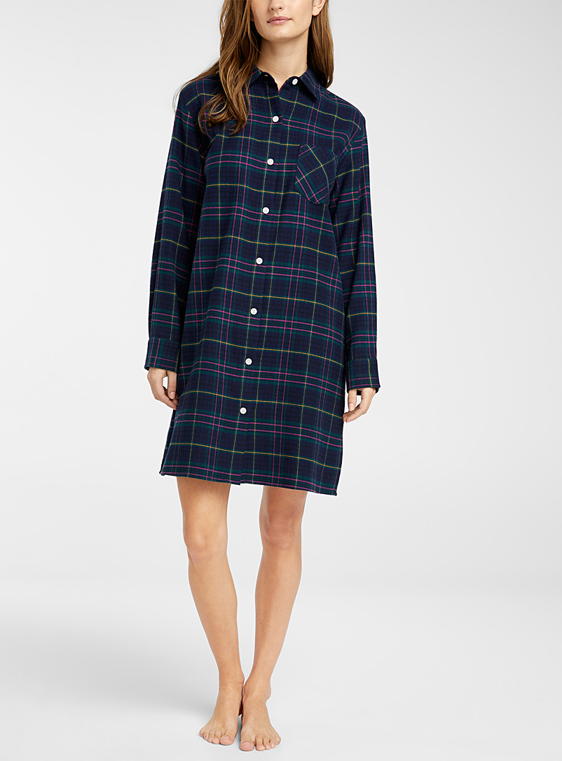 Miiyu Patterned Green Warm check nightshirt for women
