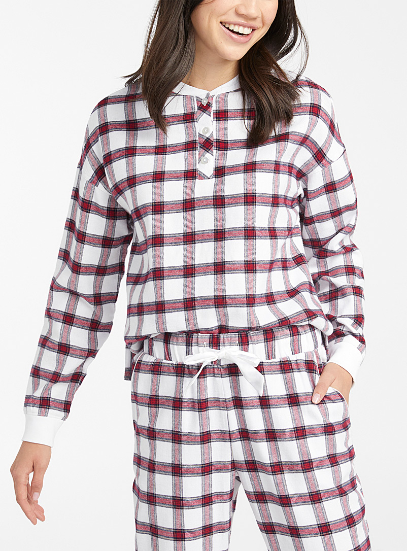 Miiyu x Twik Patterned White Warm tartan T-shirt for women
