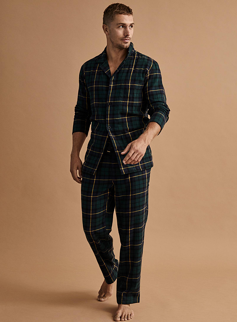 Patterned flannel pyjama shirt - Sleepwear & Leisurewear - Mossy Green