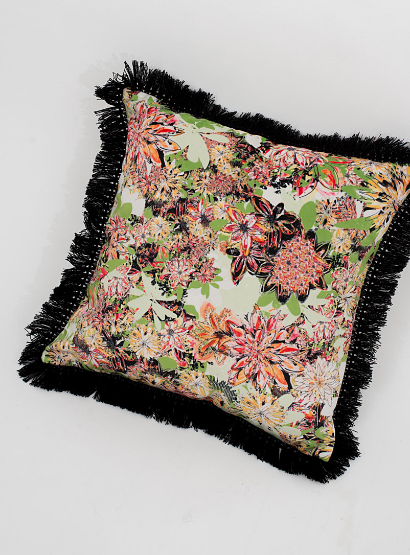 Colourful floral cushion  18&quote; x 18&quote; - Foutu Tissu - Dusky Pink