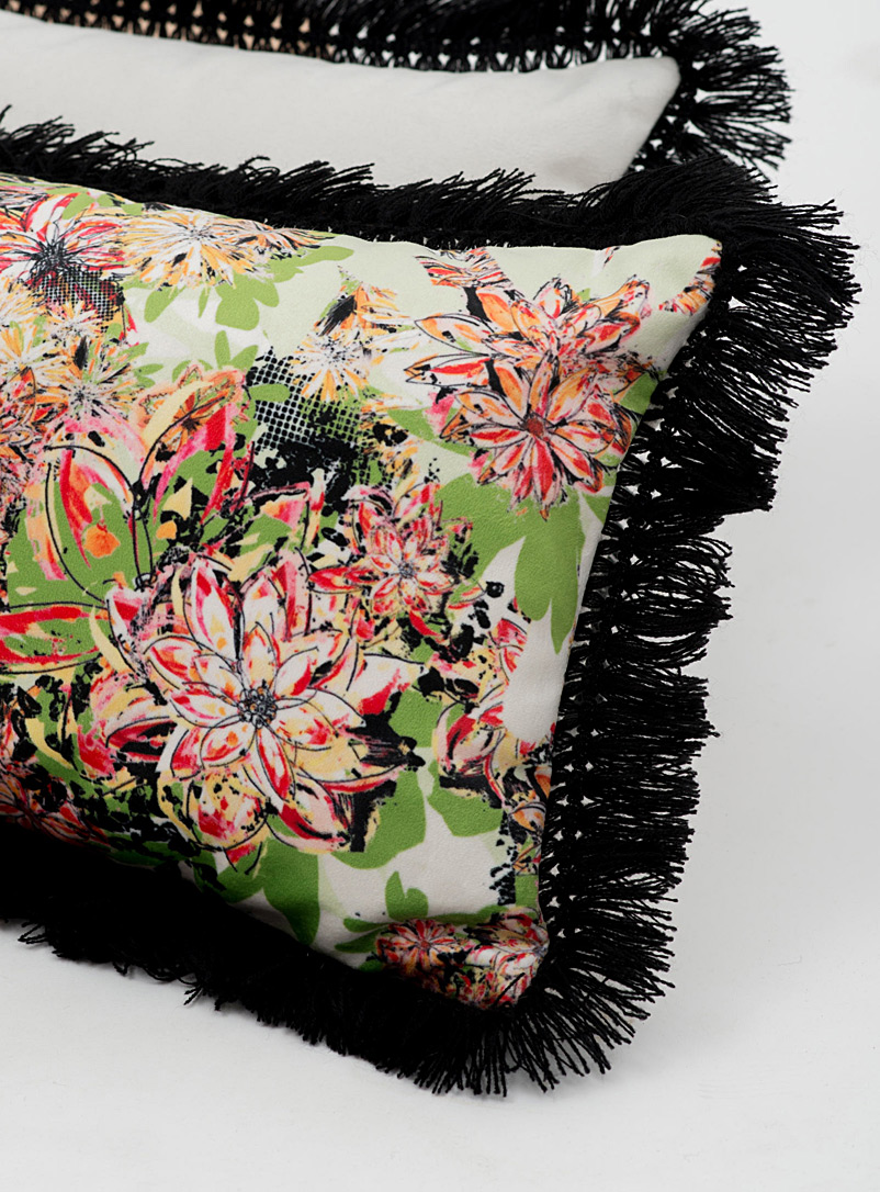 Colourful floral cushion  11&quote; x 21&quote; - Foutu Tissu - Dusky Pink