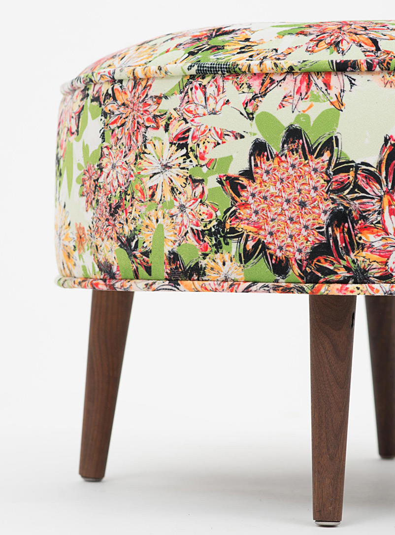 Colourful floral ottoman