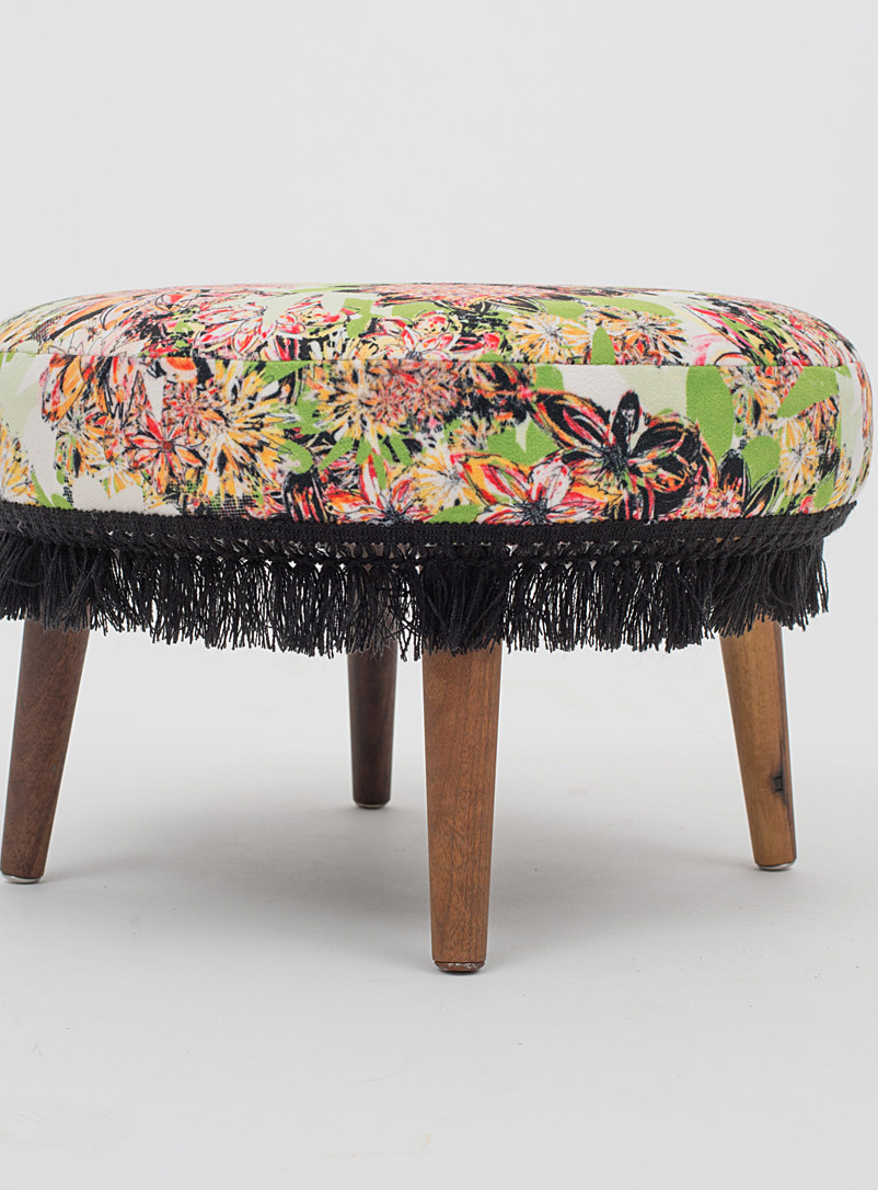 Très dion Dusky Pink Mini colourful floral ottoman
