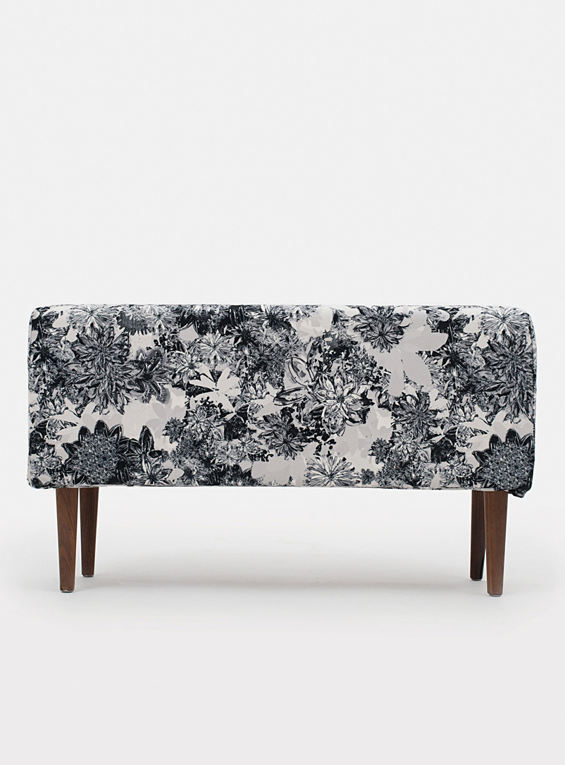 Monochrome floral bench