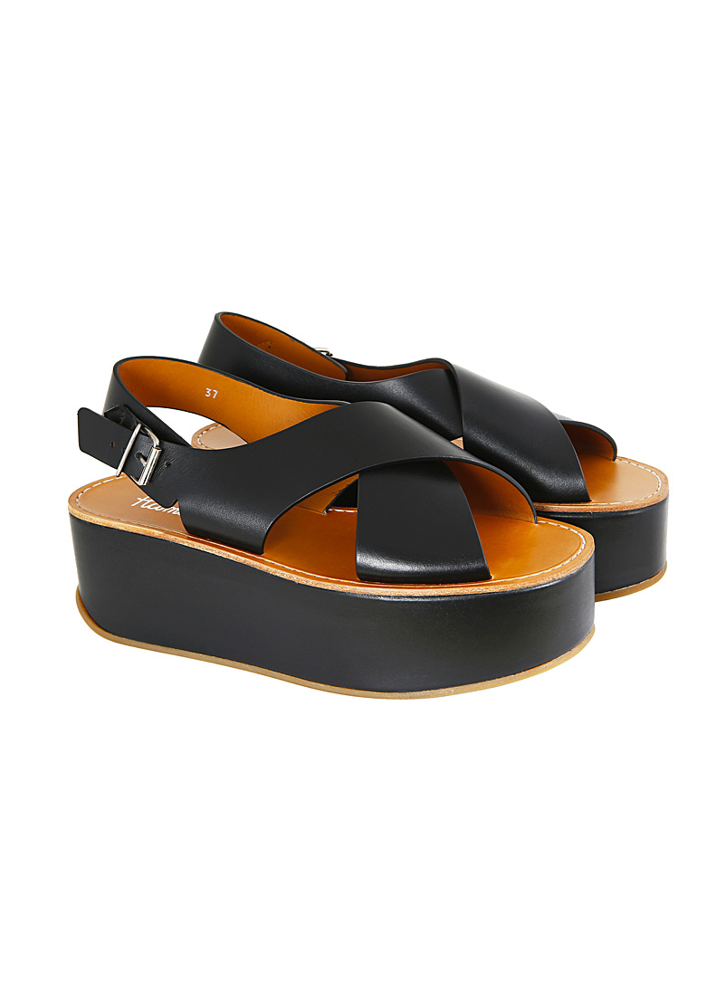 Flamingos Black Mavis platform sandals for women