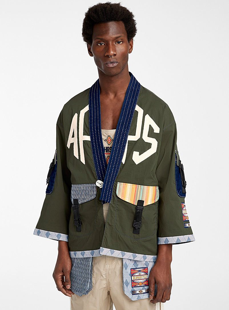 Alphastyle Mossy Green Kimono jacket for men