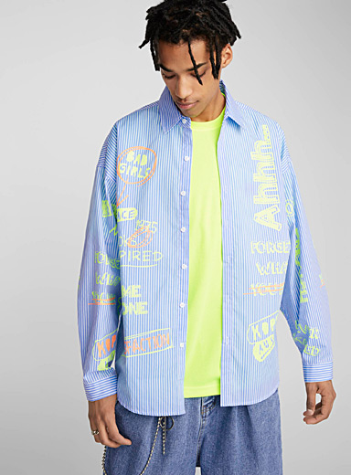 Neon doodle striped shirt