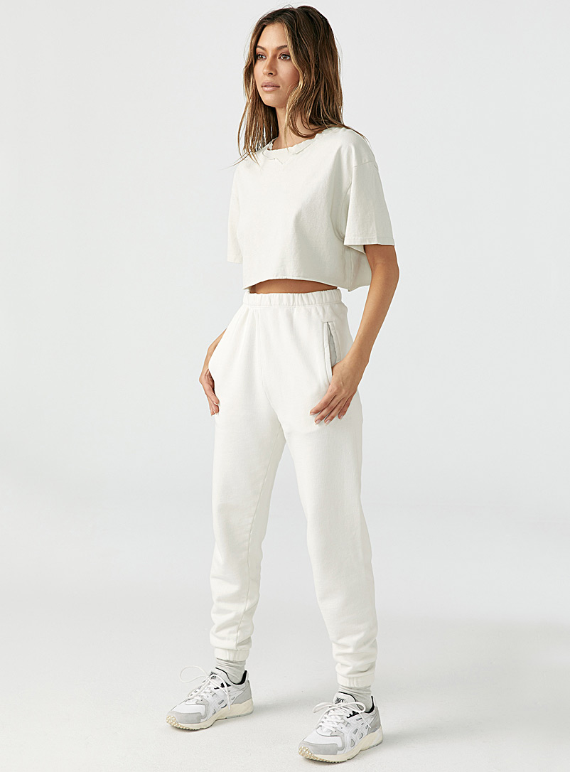 Joah Brown Ivory White Opal white straight joggers for women