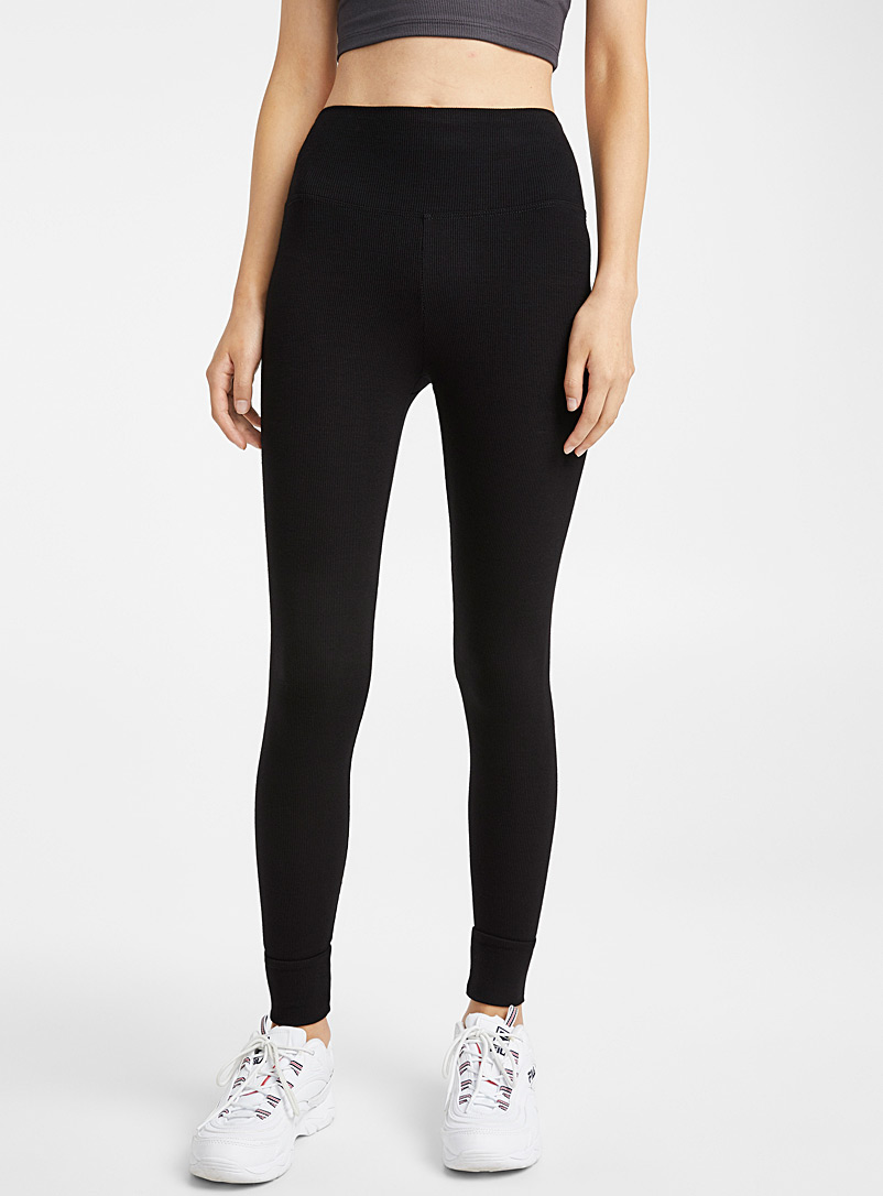 Finely ribbed legging - Leggings - Black