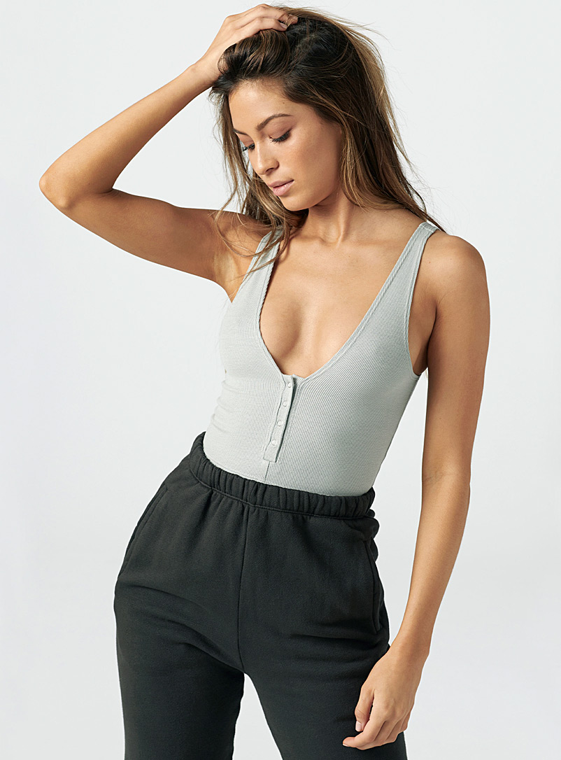 Joah Brown Grey Silver button cami for women