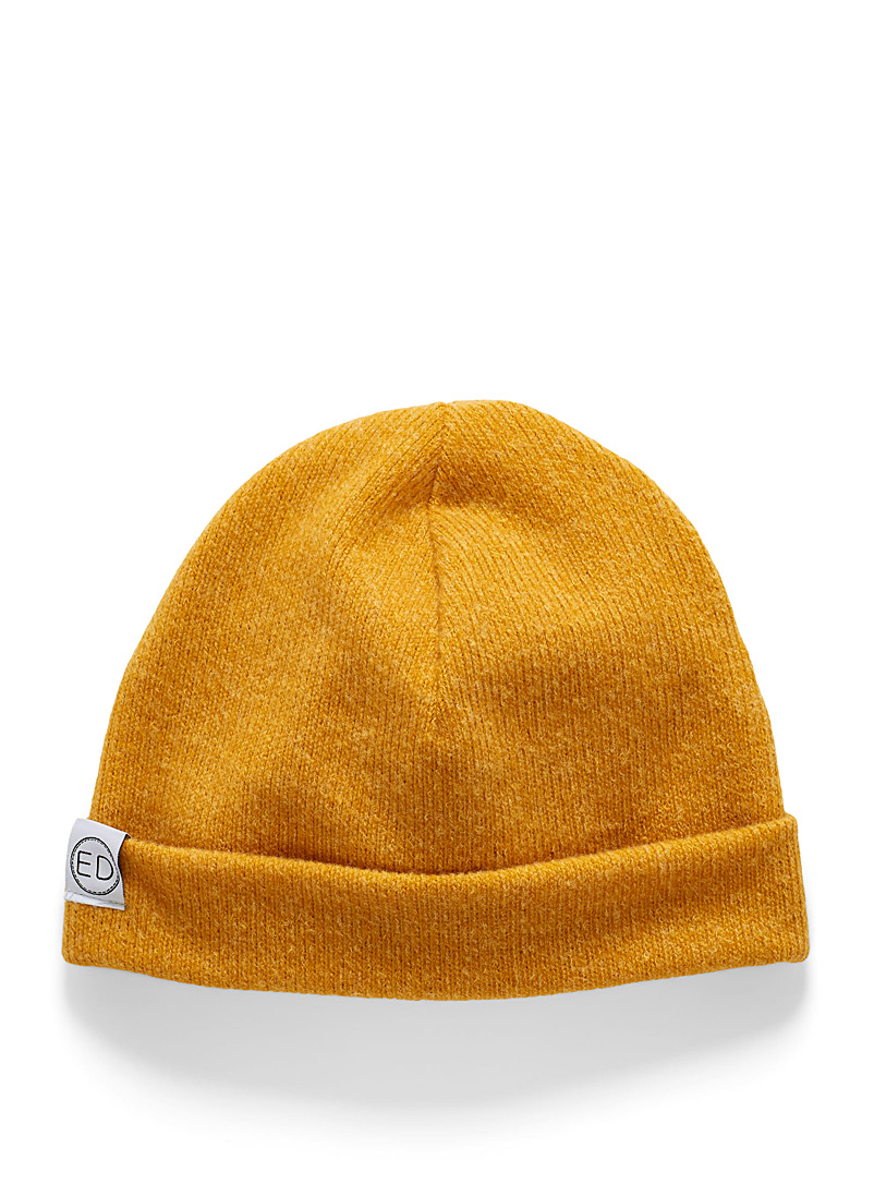EDdesign Yellow Ribbed fine tuque for women