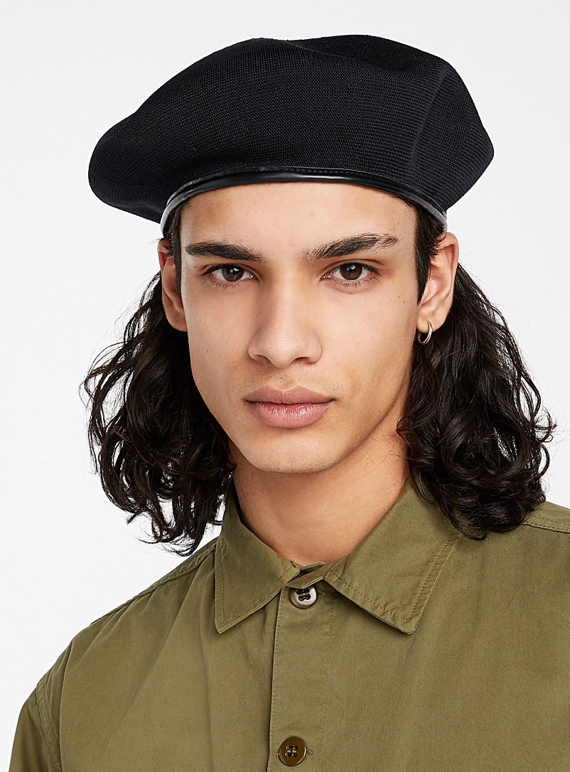 Kangol Black Monty wool beret for men