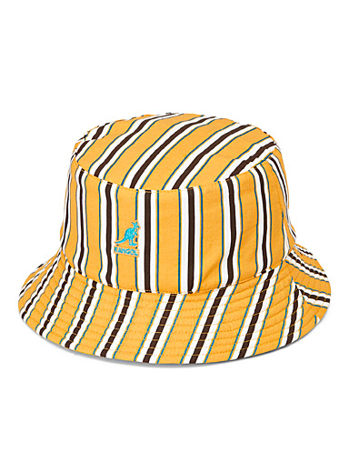 Retro-stripe reversible bucket hat