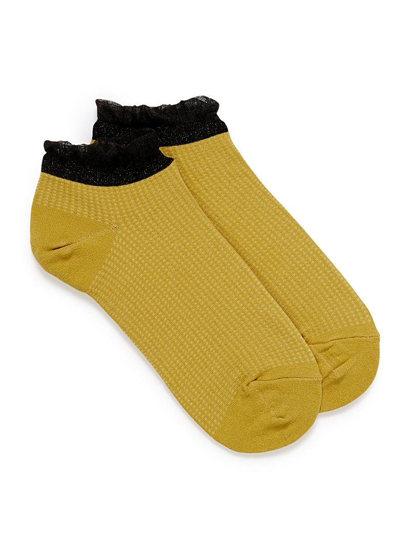 Tulle trim ped socks - Socks - Golden Yellow