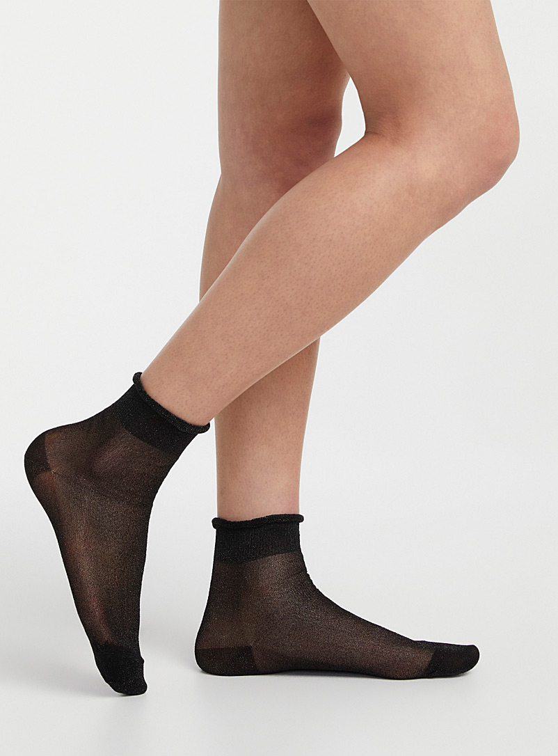 Simons Black Shimmery sheer socks for women
