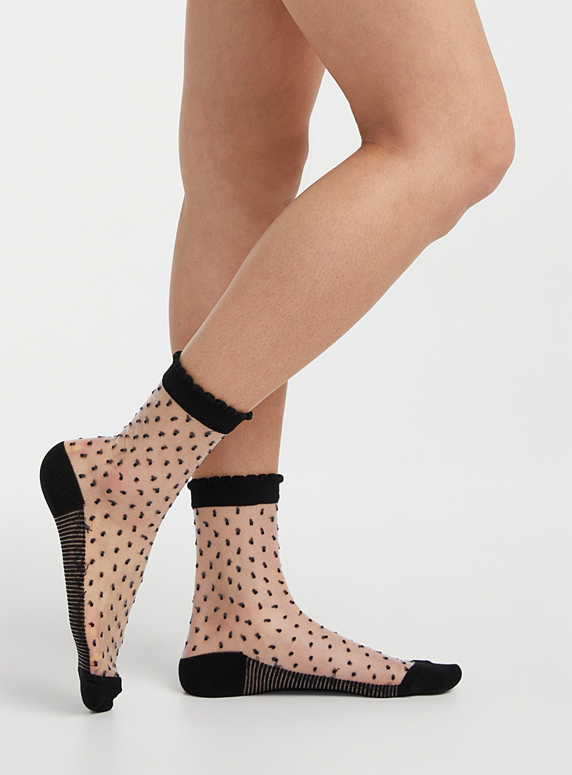 Simons Black Mini-pattern sheer socks for women