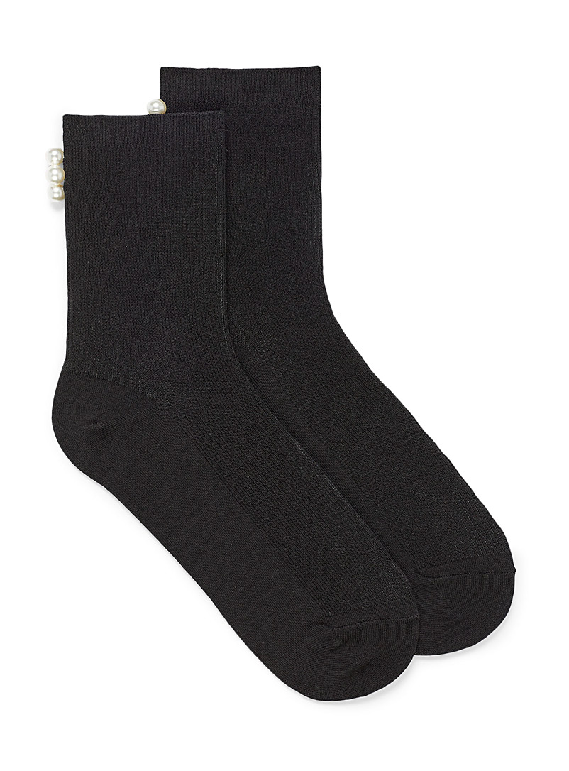 Simons Black Pearly ankle socks for women