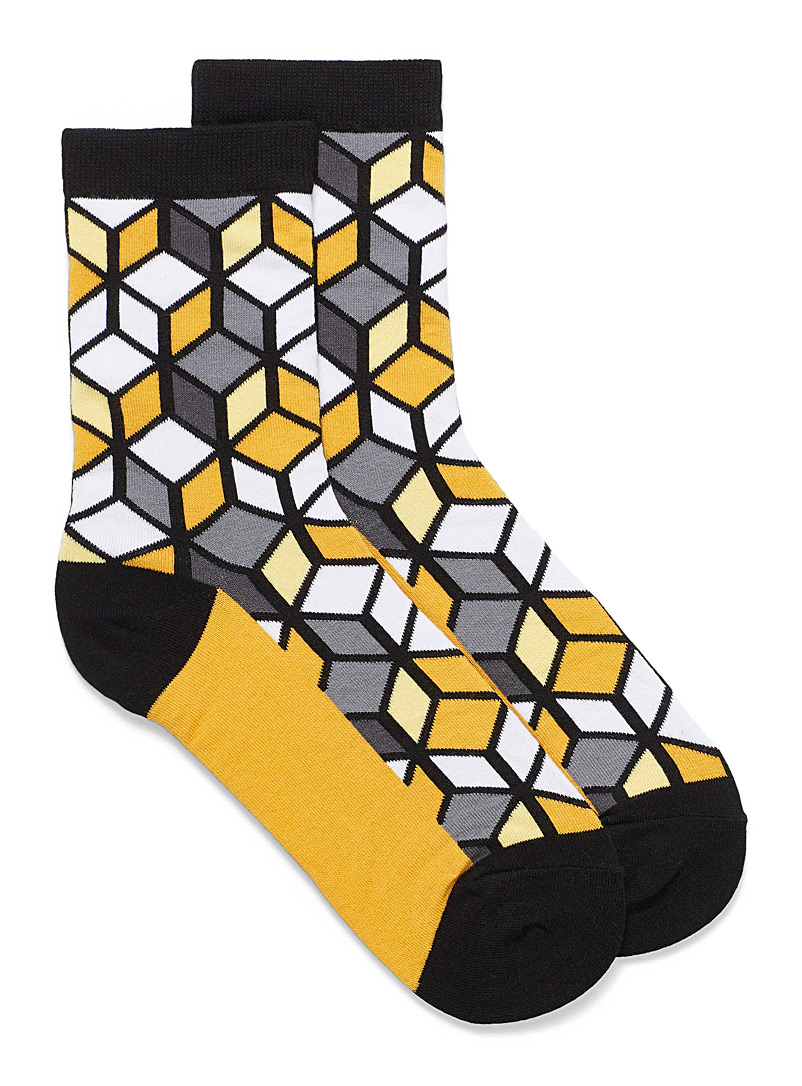 Simons Golden Yellow 3D cube ankle socks for women