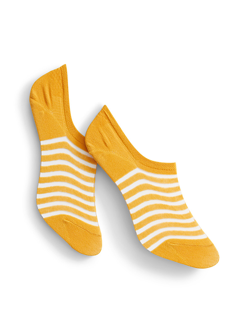 Simons Yellow Invisible stripe foot liner for women