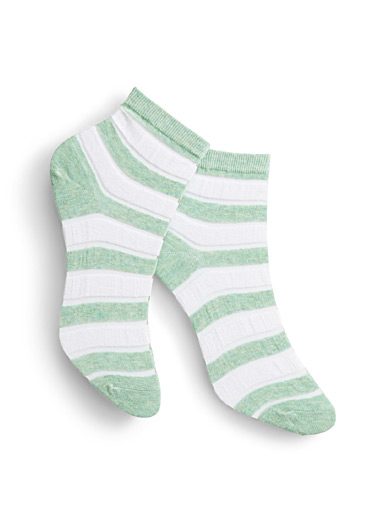 Simons Assorted green Invisible stripe ankle socks for women