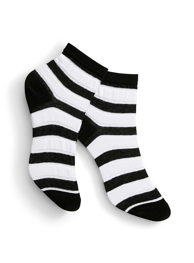 Simons Patterned Black Invisible stripe ankle socks for women