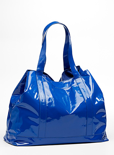 Shiny faux-leather tote