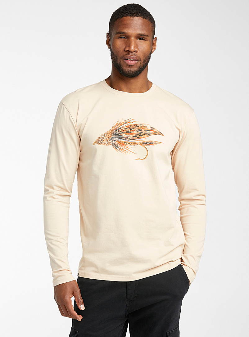 Hooké Cream Beige Fly fishing T-shirt for men