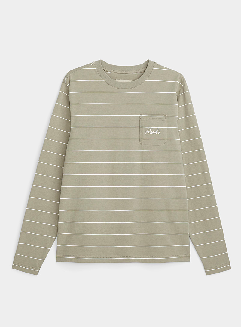 Hooké Green Signature-pocket striped T-shirt for women