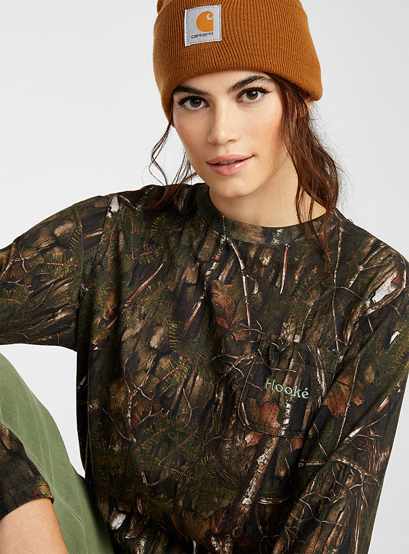 Hooké Patterned Green Forest camouflage T-shirt for women