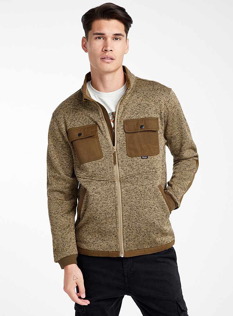 Cascapedia polar fleece knit cardigan - Sweatshirts & Hoodies - Brown