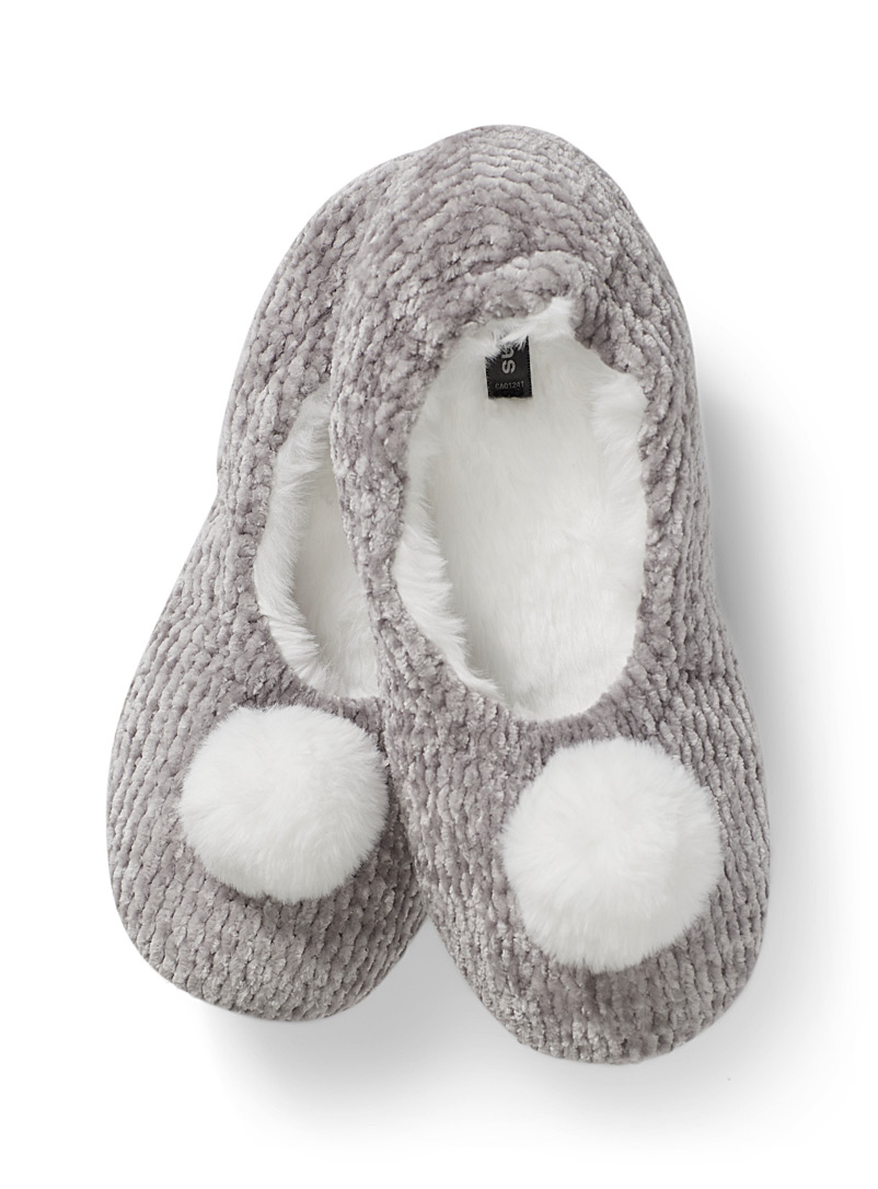 Pompom chenille knit slippers