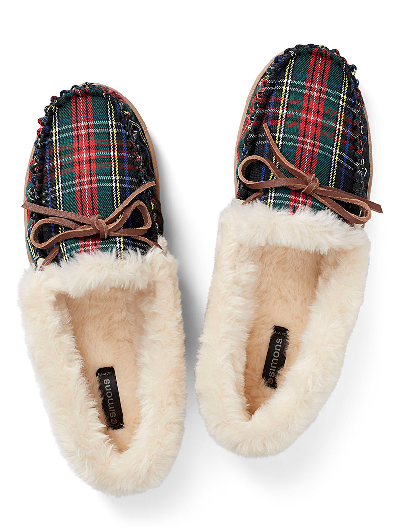 Tartan moccasin slippers - Slippers - Patterned Blue