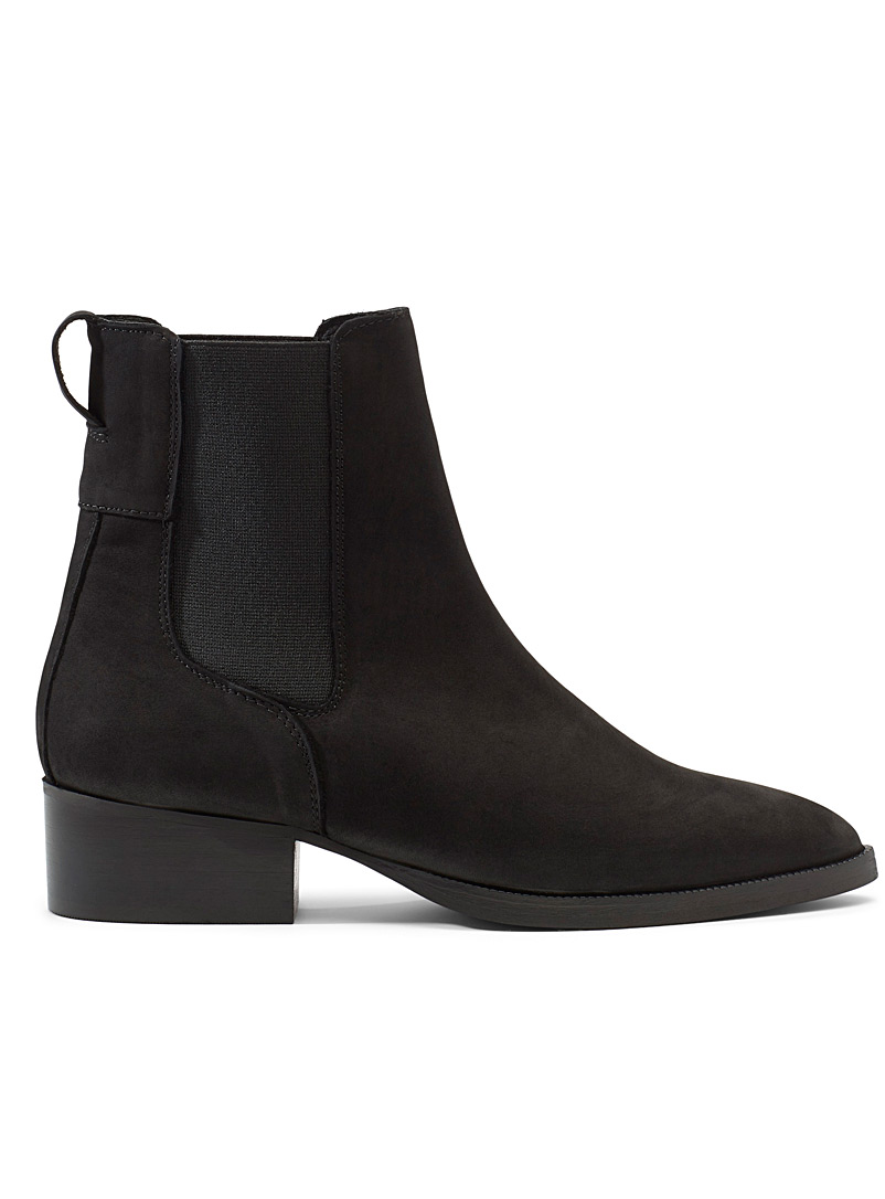 Simons Black Pointed nubuck Chelsea boots for women