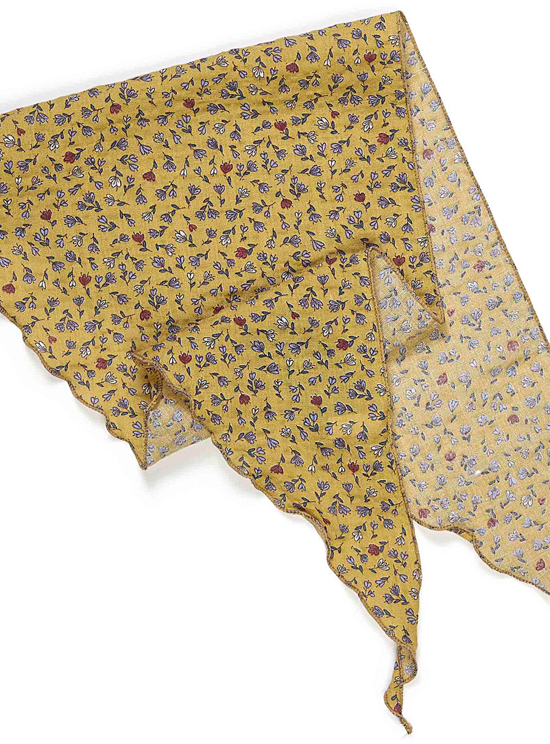 Cut flowers neck scarf - Light scarves - Patterned Yellow