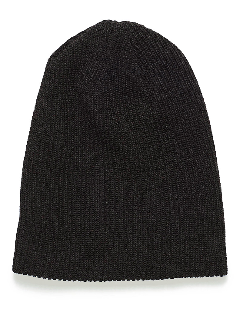 Monochrome ribbed knit tuque - Tuques & Berets - Black