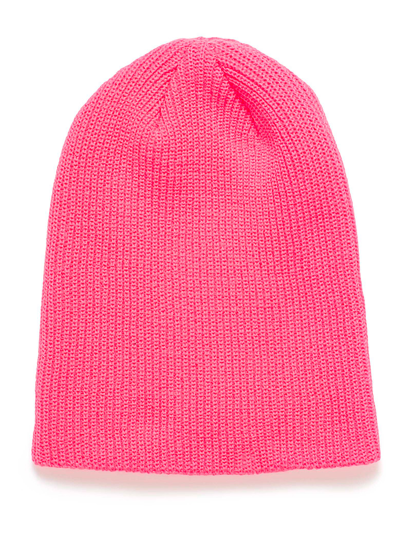 Monochrome ribbed knit tuque - Tuques & Berets - Medium Pink