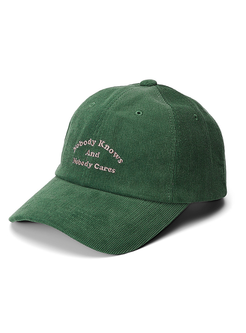 Djab Green Individualistic embroidery cap for men