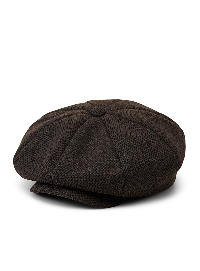 Le 31 Brown Piqué tweed knit driver cap for men