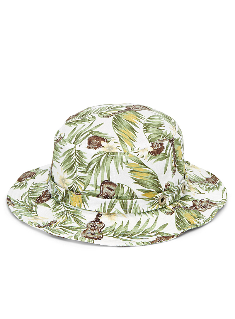 Simons Patterned White Tropical island bucket hat for women
