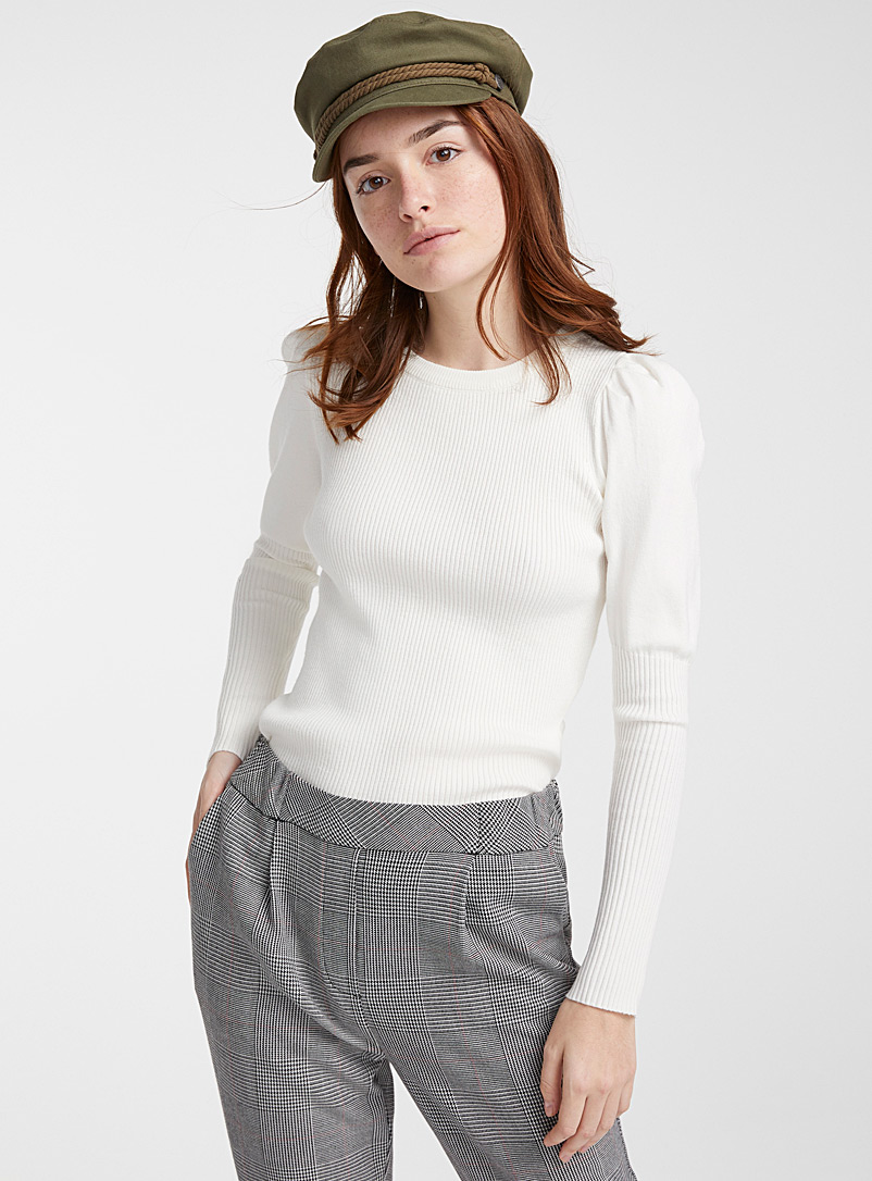 Twik Ecru/Linen Puff-sleeve ribbed sweater for women