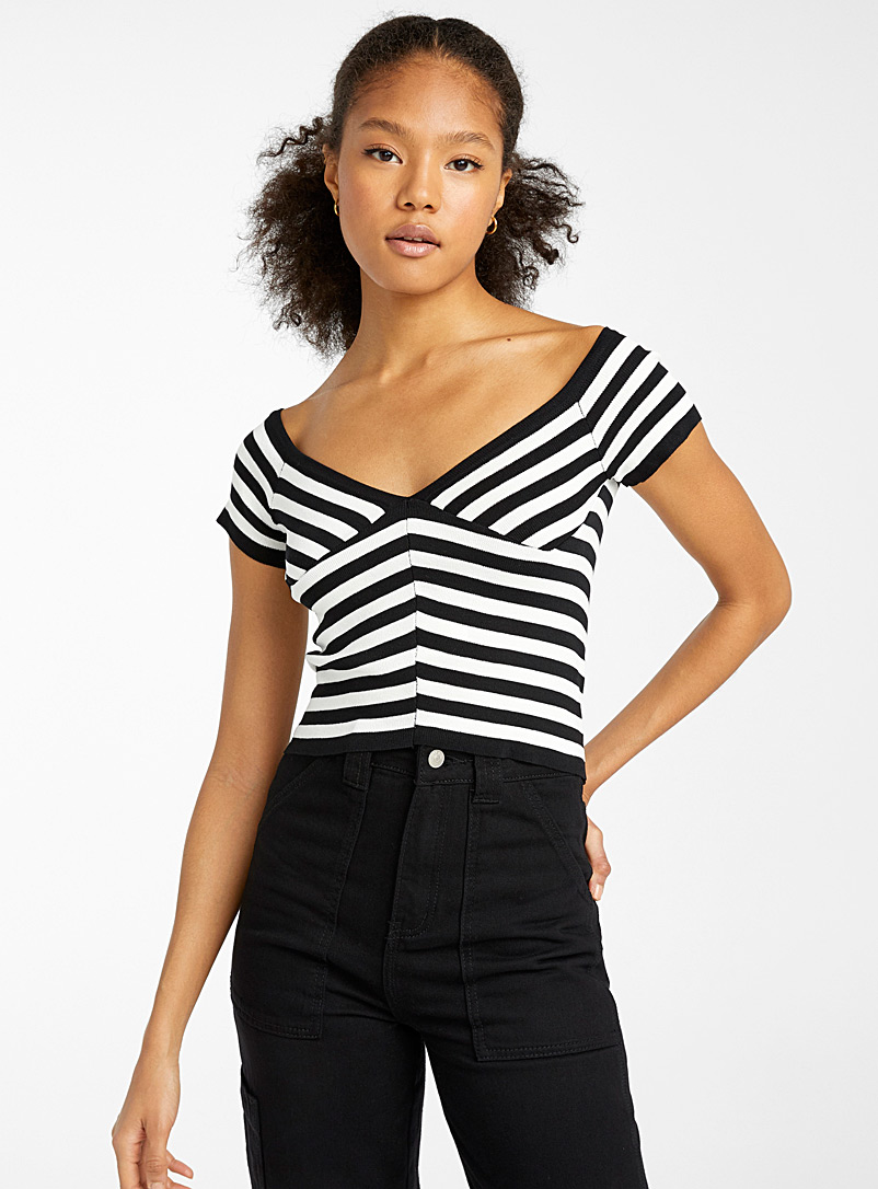 Twik Assorted black  Two-tone stripes bustier sweater for women