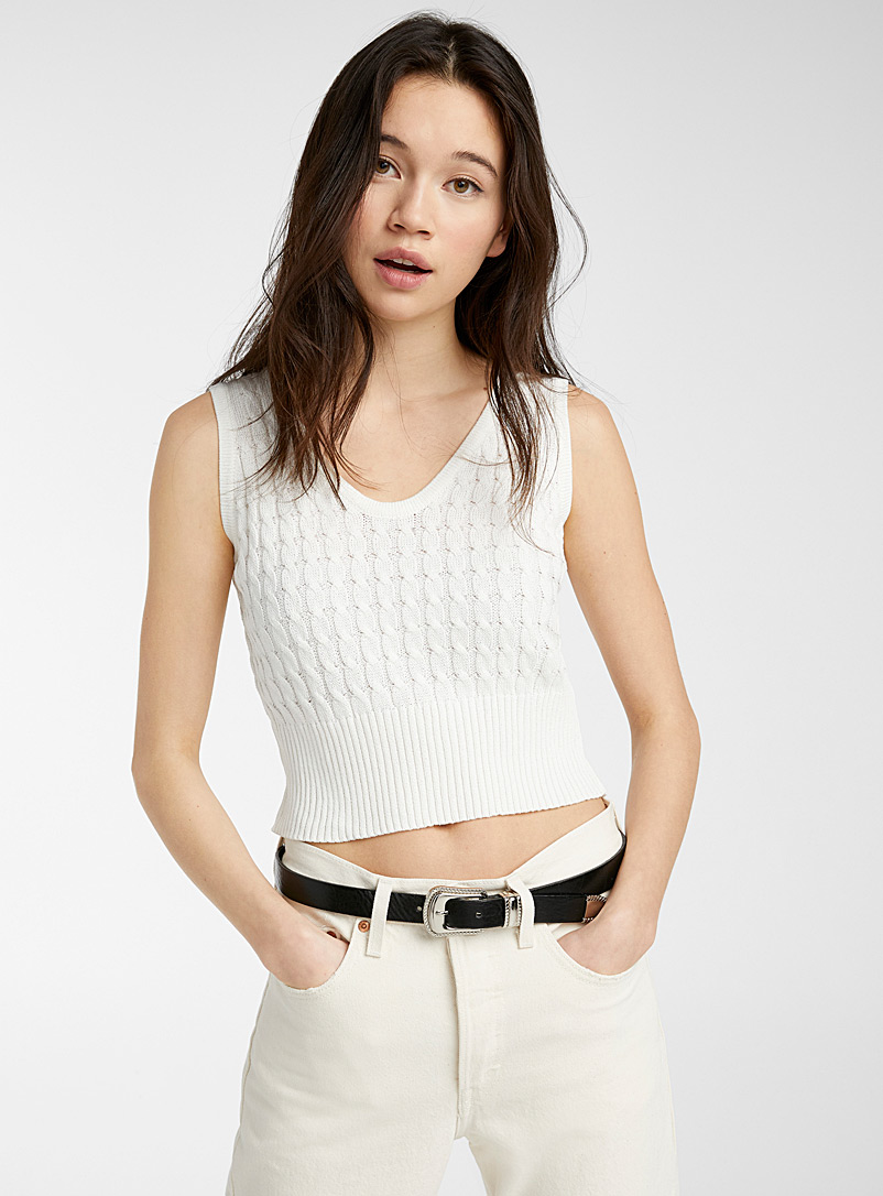 Twik Black Cropped cable knit cami for women