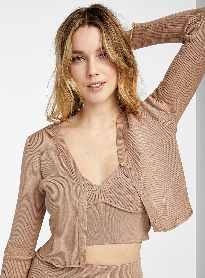 Icône Sand Rolled trim cropped cardigan for women
