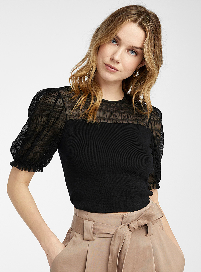Gathered tulle cropped sweater