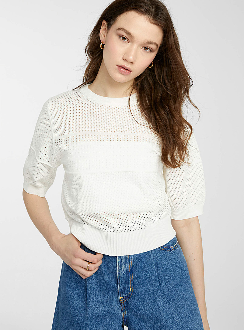 Twik White Elbow-length sleeve pointelle sweater for women