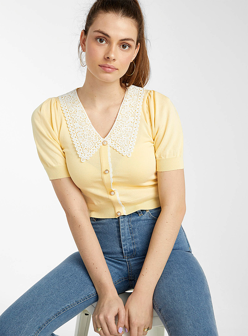 Twik Light Yellow Lace collar jewel-button sweater for women