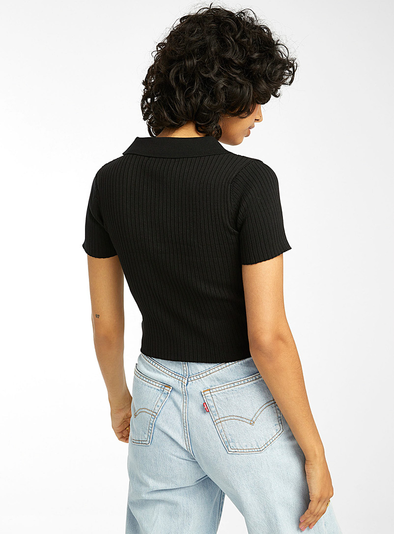 Twik Black Ribbed Johnny-collar sweater for women